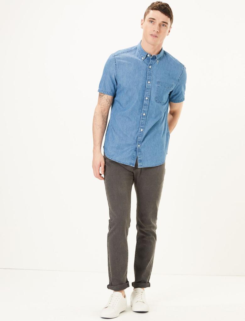 Erkek Mavi Saf Pamuklu Denim Gömlek