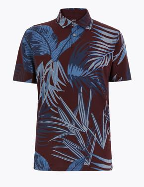 Kahverengi Desenli Polo Yaka T-Shirt
