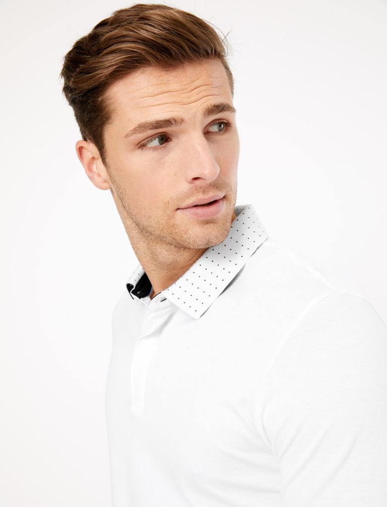 Erkek Beyaz Premium Pamuklu Polo Yaka T-Shirt