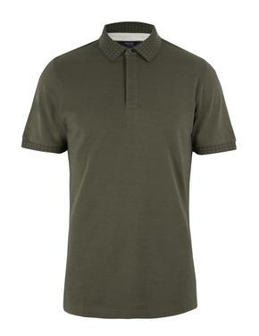 Erkek Yeşil Premium Pamuklu Polo Yaka T-Shirt