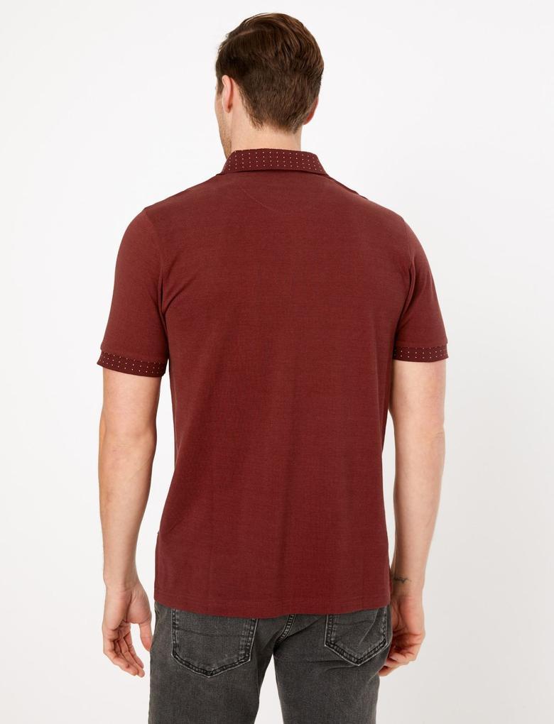 Erkek Kırmızı Premium Pamuklu Polo Yaka T-Shirt