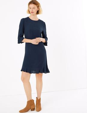 Lacivert Fit & Flare Mini Elbise