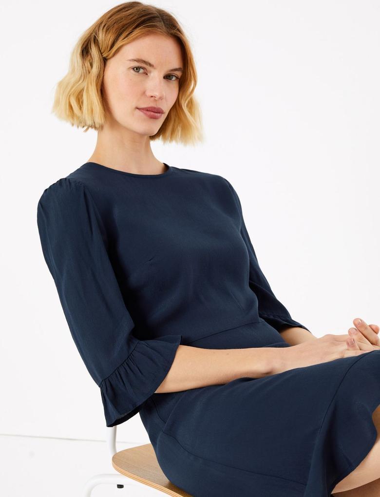 Kadın Lacivert Fit & Flare Mini Elbise