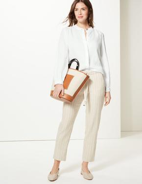 Kadın Beyaz Uzun Kollu Keten Gömlek