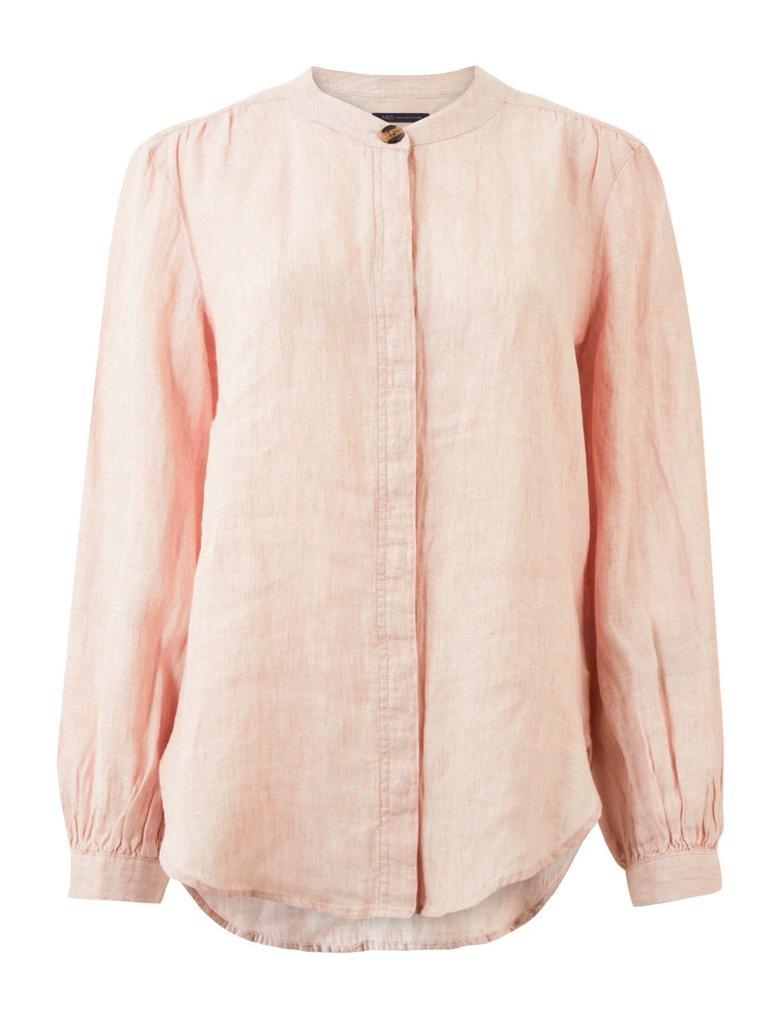 Kadın Pembe Uzun Kollu Keten Gömlek