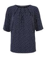 Kadın Lacivert Desenli Kısa Kollu Bluz