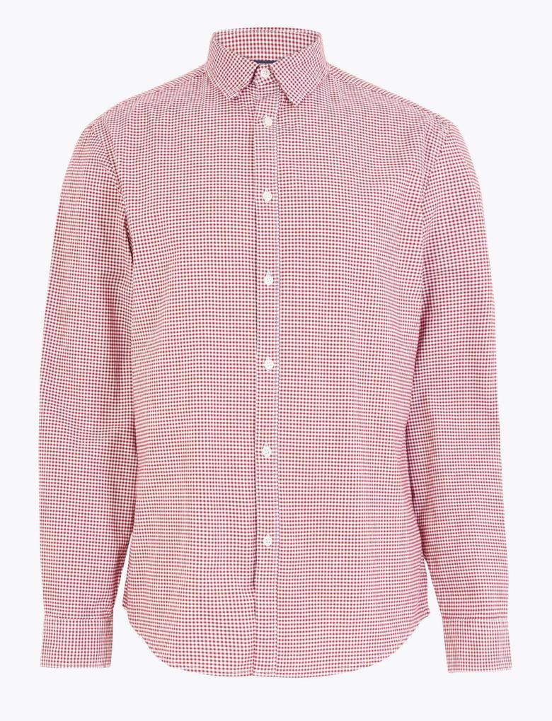 Erkek Pembe Pamuklu Ekose Oxford Gömlek
