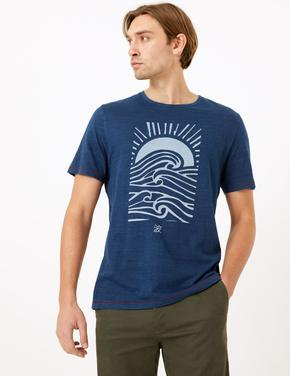 Koyu lacivert Desenli Saf Pamuklu T-Shirt
