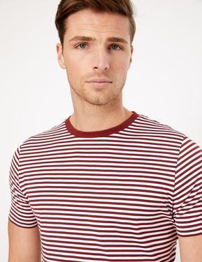 Erkek Kırmızı Luxury Supima® Çizgili T-Shirt