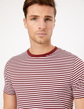 Erkek Kırmızı Supima® Çizgili T-Shirt