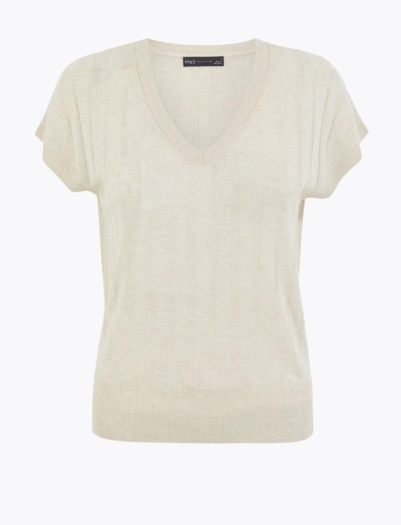 Kadın Renksiz Kısa Kollu V Yaka T-Shirt