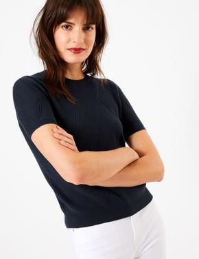 Lacivert Kısa Kollu Triko T-Shirt