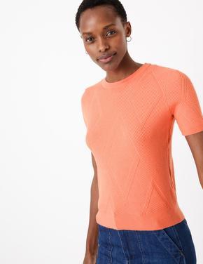Pembe Kısa Kollu Triko T-Shirt