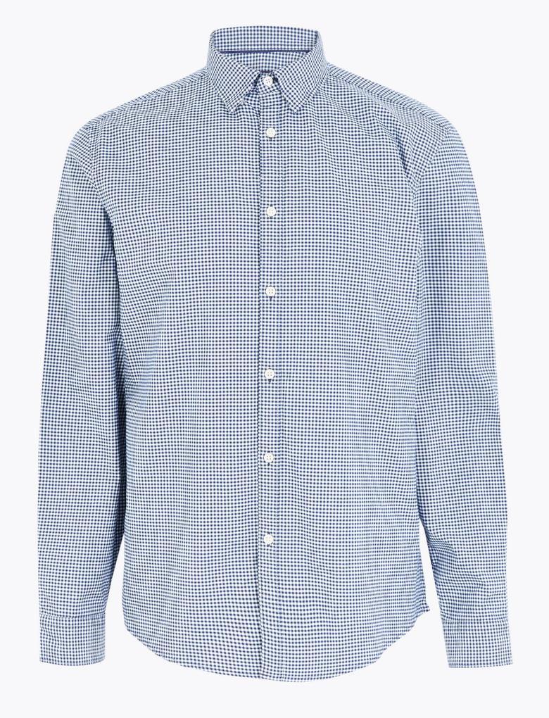 Erkek Lacivert Pamuklu Ekose Oxford Gömlek