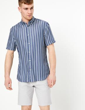 Erkek Mavi Çizgili Kısa Kollu Denim Gömlek