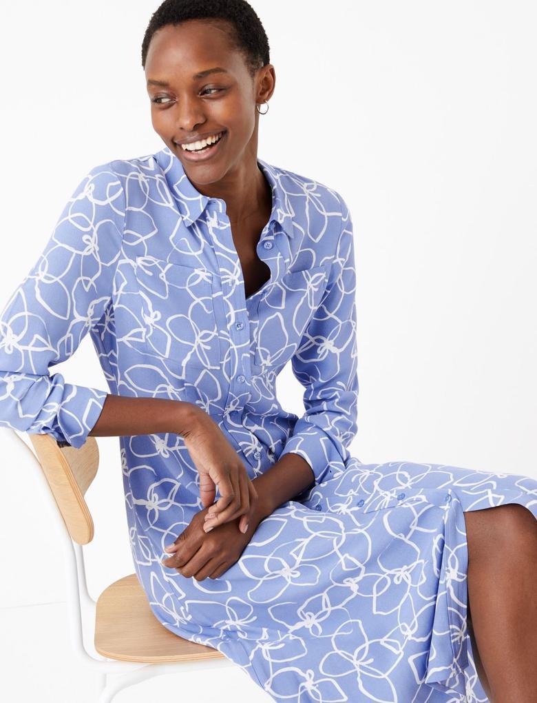 Kadın Mavi Desenli Midi Gömlek Elbise