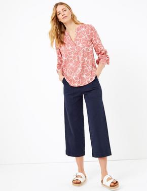 Pembe Çiçek Desenli Popover Bluz