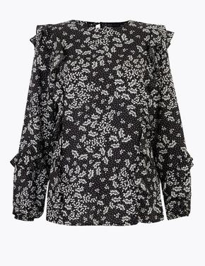 Kadın Siyah Çiçek Desenli Fırfırlı Bluz