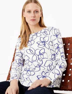 Krem Desenli Uzun Kollu Bluz