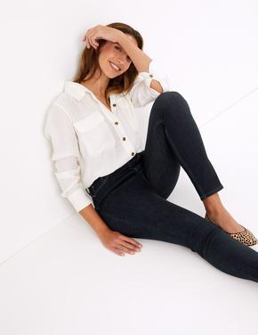 Lacivert Şekillendirici Yüksek Belli Skinny Jean Pantolon