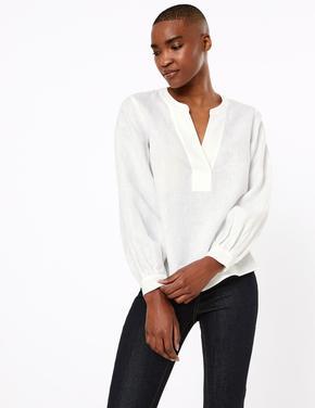 Beyaz Keten Popover Bluz