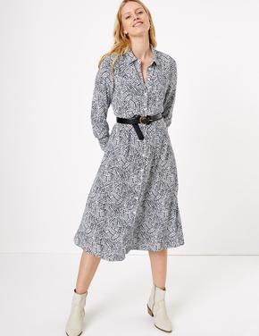 Krem Desenli Midi Gömlek Elbise