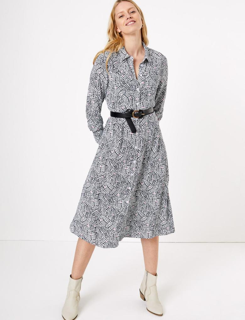 Kadın Krem Desenli Midi Gömlek Elbise