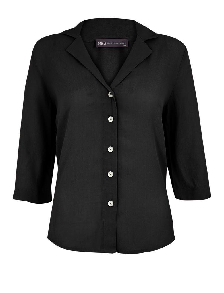 Kadın Siyah 3/4 Kollu Düğme Detaylı Gömlek