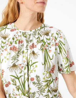 Kadın Multi Renk Desenli Kısa Kollu Bluz
