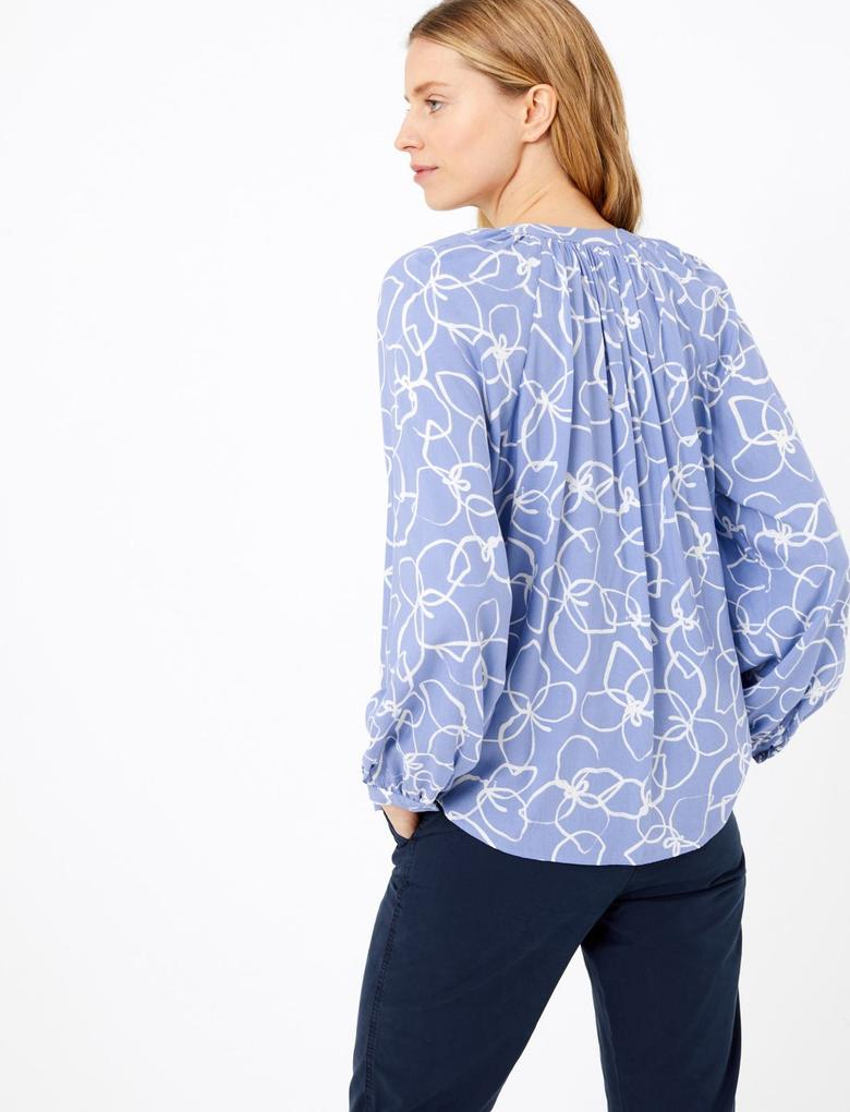 Kadın Mor Desenli Relaxed Fit Bluz
