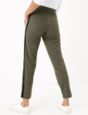 Kadın Yeşil Yanları Şeritli Tapered Ankle Grazer Pantolon
