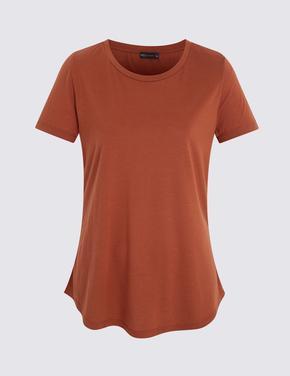 Kahverengi Kısa Kollu Relaxed T-Shirt