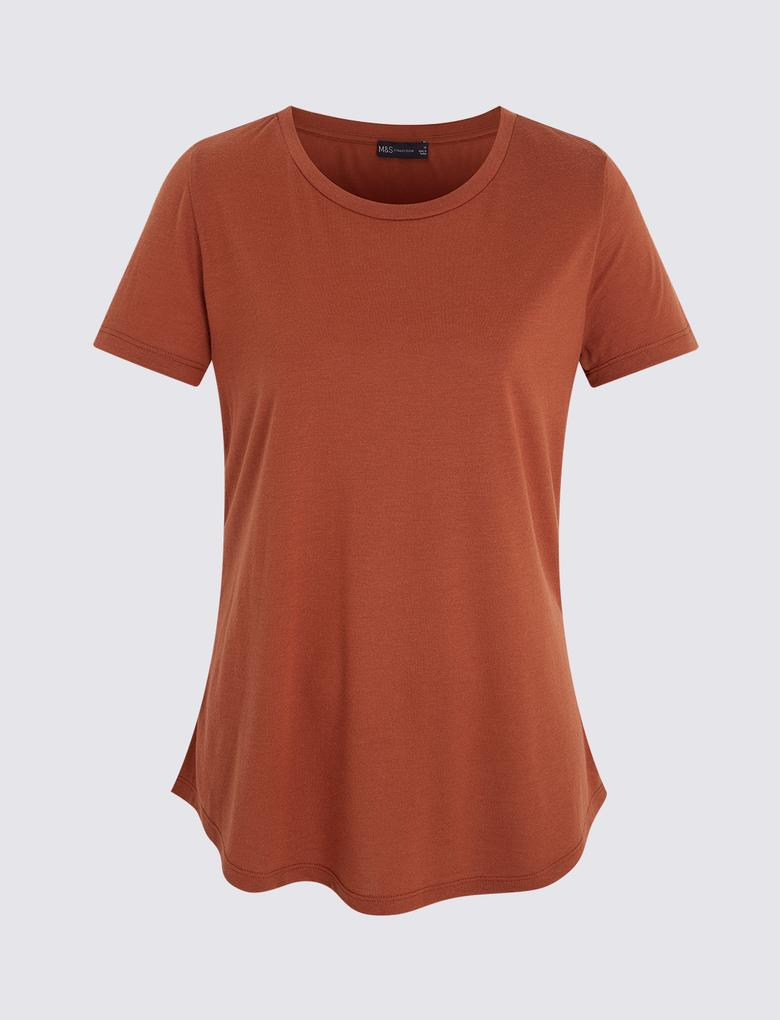 Kadın Kahverengi Kısa Kollu Relaxed T-Shirt