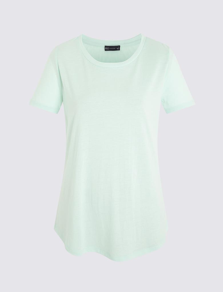 Kadın Mavi Kısa Kollu Relaxed T-Shirt
