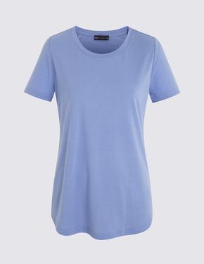 Mor Kısa Kollu Relaxed T-Shirt
