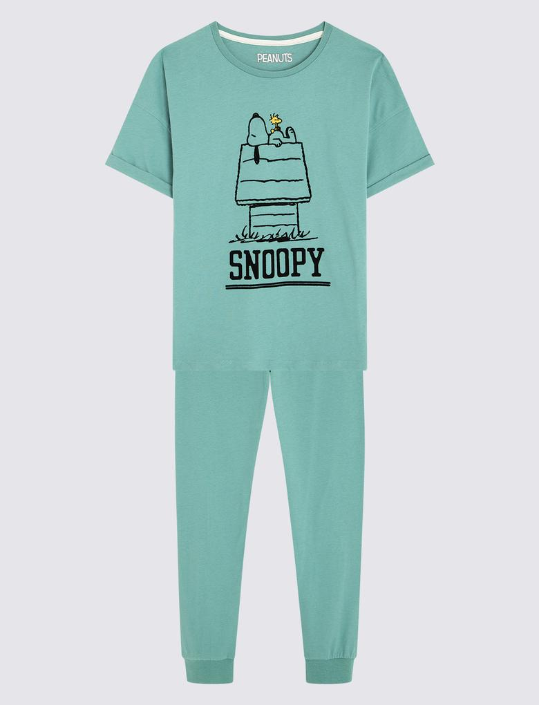 Çocuk Yeşil Desenli Pijama Takımı
