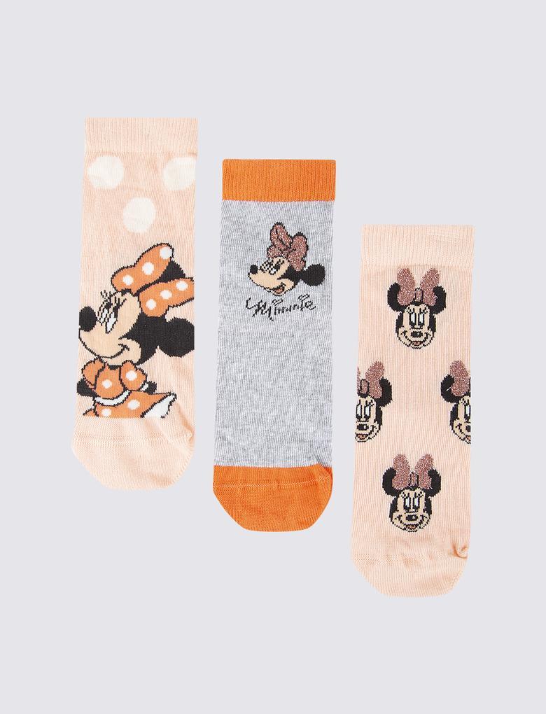 Çocuk Pembe 3'lü Minnie Mouse™ Desenli Çorap Seti