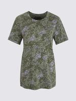 Kadın Yeşil Çiçek Desenli Kısa Kollu T-Shirt