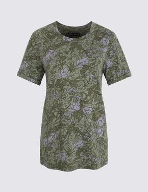 Yeşil Çiçek Desenli Kısa Kollu T-Shirt