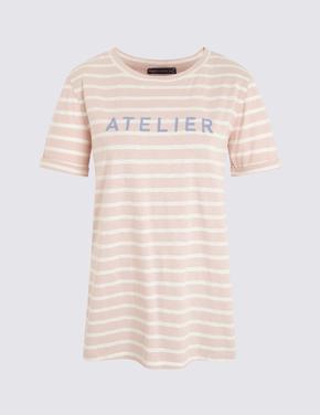 Kadın Pembe Çizgili Kısa Kollu T-Shirt