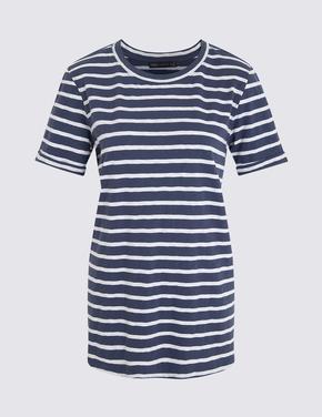Koyu lacivert Çizgili Kısa Kollu T-Shirt