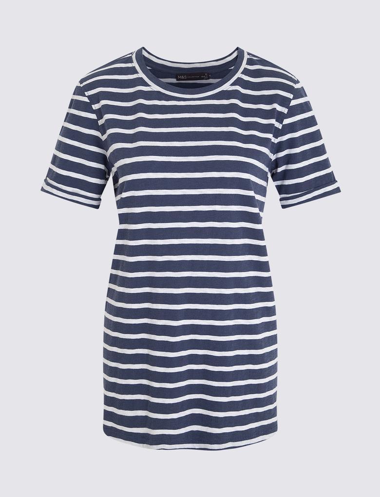 Kadın Koyu lacivert Çizgili Kısa Kollu T-Shirt