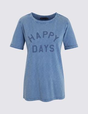 Kadın Mavi Sloganlı Kısa Kollu T-Shirt