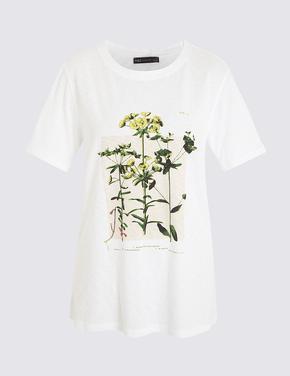 Krem Çiçek Desenli Kısa Kollu T-Shirt