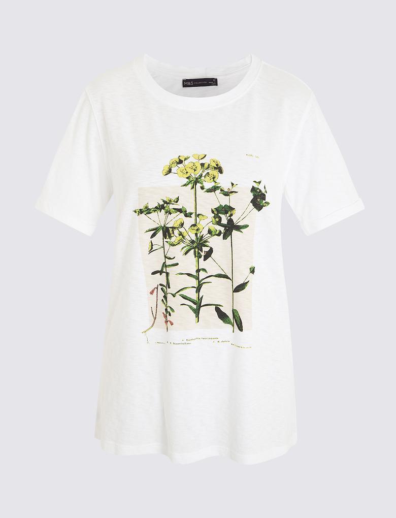 Kadın Krem Çiçek Desenli Kısa Kollu T-Shirt