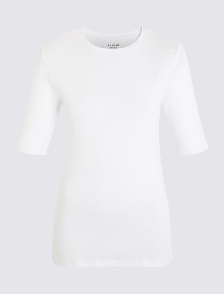 Kadın Beyaz Yuvarlak Yakalı Regular Fit T-Shirt