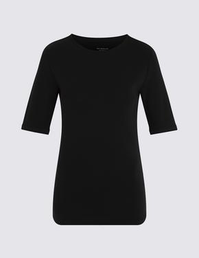 Siyah Yuvarlak Yakalı Regular Fit T-Shirt