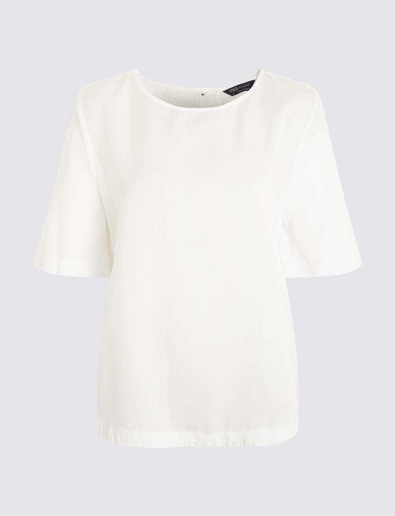 Kadın Beyaz Yuvarlak Yaka Bluz