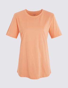 Pembe Kısa Kollu Straight Fit T-Shirt