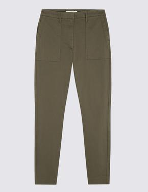 Yeşil Saten Kargo Pantolon